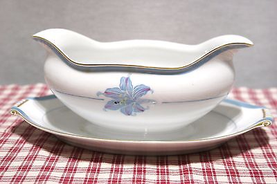RARE Narumi China Occupied Japan RHAPSODY Blue Lily Gravy Boat w/underplate MINT