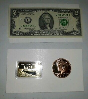 coin LOT Titanic 1 oz gold plated bar 1 oz copper round $2 dollar NO JUNK DRAWER