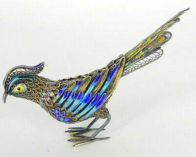 Antique Chinese Silver Shanghai China Enamel Filigree Bird Figurine Gorgeous