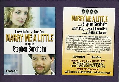 Stephen Sondheim's MARRY ME A LITTLE the musical Off-Broadway with LAUREN MOLINA