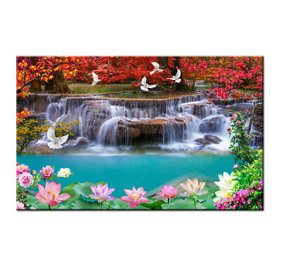 Art Deco Waterfall Landscape HD Print Painting on Canvas Home Décor Wall Picture