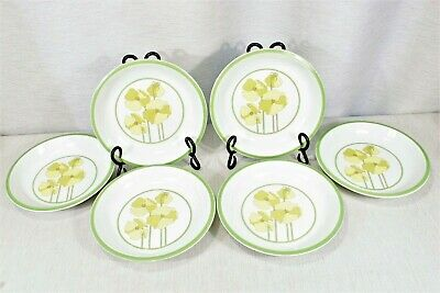"""Lot of 6 DENBY 7 3/4"""" Quadrille Soup Bowls Yellow Pansies Green Bands 1974"""