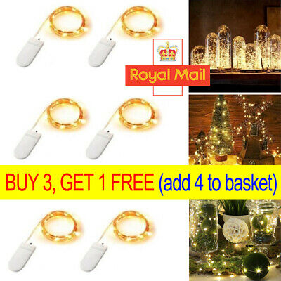 1/6PC 20 LED Battery Micro Rice Wire Copper Fairy String Lights Party Decor 2M R