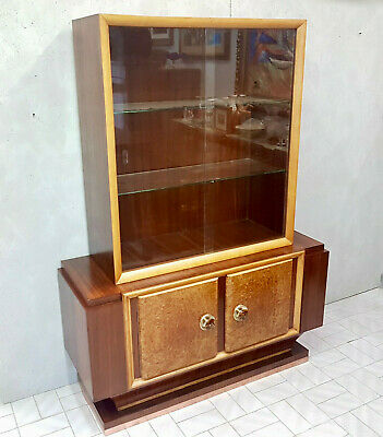 Italian Rosewood And Tuya Art Deco Glass Wall Cabinet  From 1940