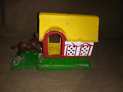 Cast Iron Kicking Donkey Mule Mechanical Action Bank Vintage Taiwan Works great