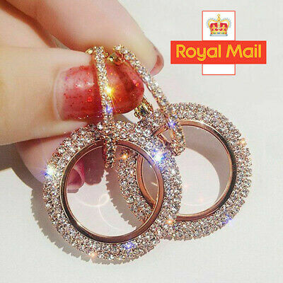 Rose Gold 925 Silver Crystal Round Hoop Earrings Womens Jewellery Party Wedding