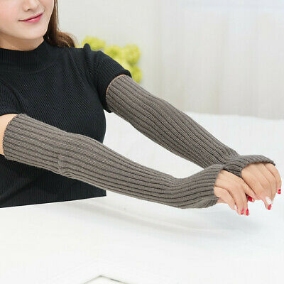 women Warm gloves winter knitted half finger long cuff mittens glove Solid Color