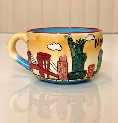 New York NYC Coffee Tea Mug XL Colorful Ceramic Unique Excellent Condition