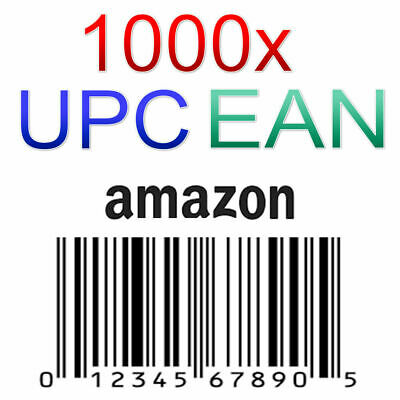 1000 UPC EAN Code Numbers Barcodes Bar Code for Amazon GS1 ECommerce