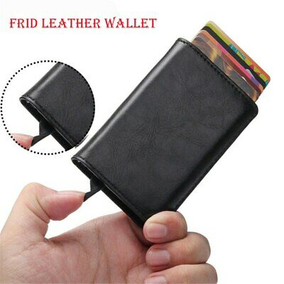 Men Antitheft Wallet RFID Blocking Pop-up Leather Card Holder Metal Gift  Purse