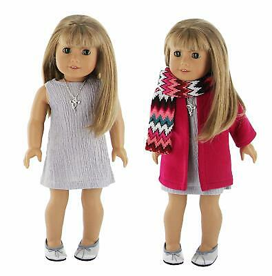 "Doll Clothes 5 Piece Winter Dress Outfit Coat Set Fits 18"" American Girl Dolls"