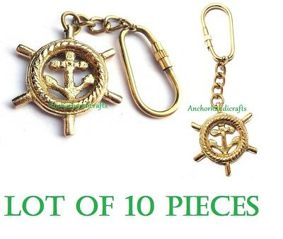 set of 10 Pieces Nautical Solid Brass Anchor in wheel Maritime Key chain