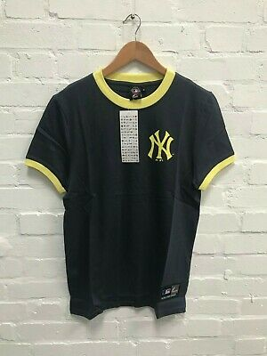 New York Yankees Majestic Men's MLB Muscle Fit Ringer T-Shirt - Navy - New