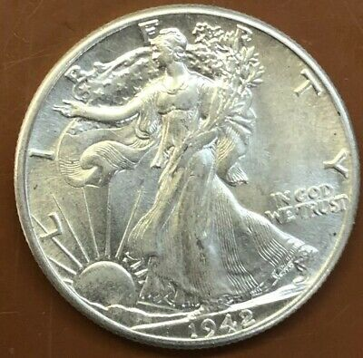 1942-P Walking Liberty Silver Half Dollar UNC Uncirculated Coin - TCC