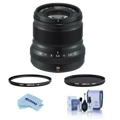 Fujifilm XF 50mm (76mm) F/2 WR Lens Black W/Hoya 46mm HMC UV / CPL Filter