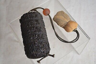 ANTIQUE Japanese Carved Wooden 5 Compartment Pillbox Medicine Case INRO Toggle