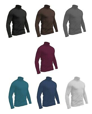 Mens Jersey - Cotton Turtle Roll Polo Neck Turtleneck Ski Golf Top S-4XL