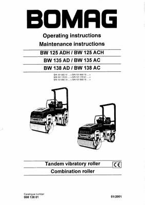 PDF Download Bomag Operating Maintenance Tandem Vibratory Roller BW125