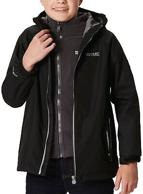 Regatta Luca 3 In 1 Junior Waterproof Jacket Black Fits Kids Ages 5-6 & 11-12