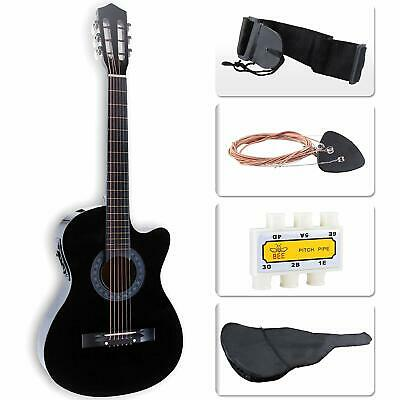 38'' Acoustic Electric Guitar with Pack & Case Strap Tuner for Beginner Black