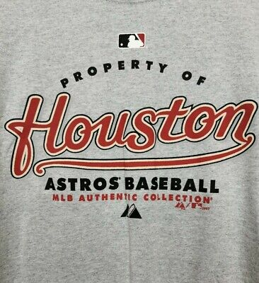 Houston Astros Baseball T-Shirt Grey MLB Authentic Collection 2007 by Majestic M