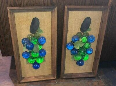 2 Mid Century Framed Acrylic Lucite Grape Cluster Wall Hanging Vintage Plaque