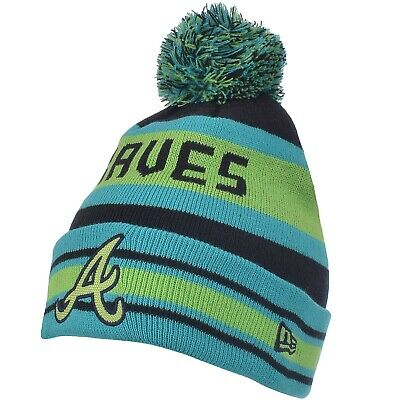 New Era Mens Atlanta Braves MLB Fash Jake Bobble Beanie Hat - Green/Blue - OSFA