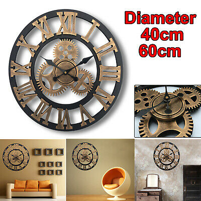Extra Large Roman Numerals Skeleton Wall Clock 40/60Cm Big Giant Open Face Round
