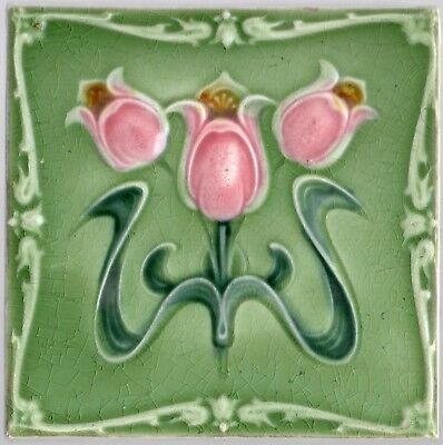 Reclaimed original period antique Art Nouveau Majolica tile rose & green flowers