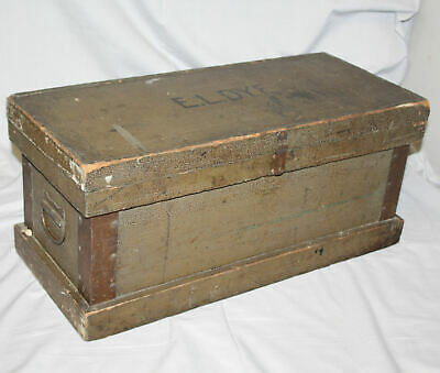 Antique Primitive Personalized Painted Pine Tool Box with Removable Tray