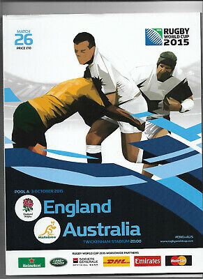 2015 IRB Rugby World Cup match 26 - ENGLAND v. AUSTRALIA (official programme)