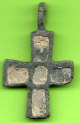 Ancient Viking Enamel Bronze Cross Kiev Russia Ukraine ca 1100 Byzantine Rare 1