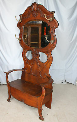 Antique Oak Hall Seat – original finish – Mirror, Hooks, and Storage Seat