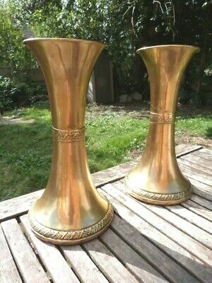 Lovely Pair Of Large Antique Edwardian Brass Vases By Beldray.