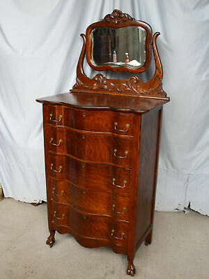 Antique Oak Hiboy High Boy Chest of Drawers - 5 Drawers with Mirror