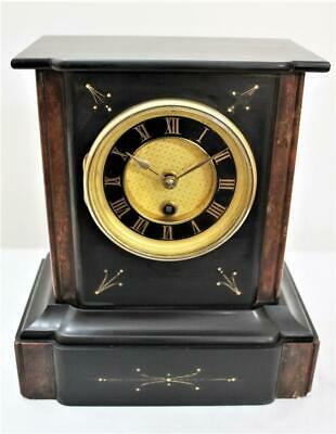 GOOD ORIGINAL FRENCH SLATE & MARBLE MANTEL CLOCK Circa 1880 MATCHING NUMBERS