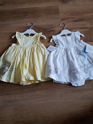 Two Baby Girl Dresses With Matching Knickers Age 3-6Mths Bnwt