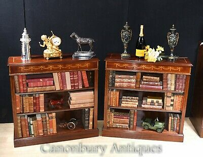 Pair Open Bookcases - Sheraton Regency Mahogany Bookcase