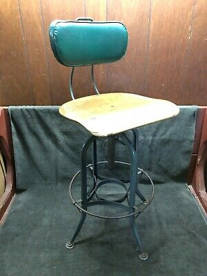 "Vintage Antique TOLEDO UHL Draftsman Metal Industrial Stand Stool 25-20"" tall"