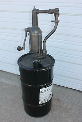 Old Large Antique Steel Black Barrel Oil Drum + Cast Iron Hand Crank Pump Pumper