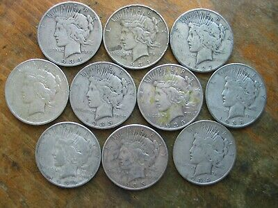 Lot Of 10 Low Grade Better Date Peace Silver Dollars 90% junk Silver Cull Culls