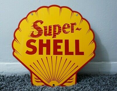 Vintage Super Shell Sign Metal Service Station Pump Plate Motor Clam Gas Oil