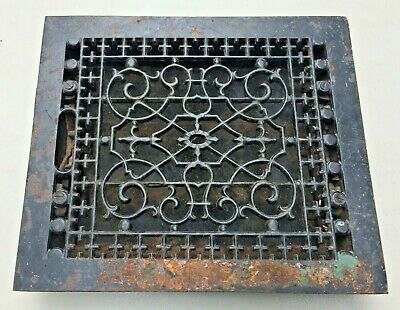 """Vintage/Antique Floor Heater Ornate CAST IRON GRATE 14"""" x 12"""" with vents"""
