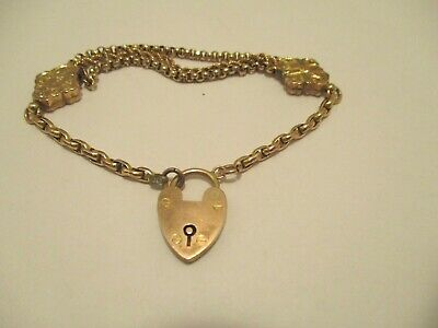 Bracelet Antique 9CT Padlock Charm Chain Links 7.25 in long Signed A.Bros 9CT