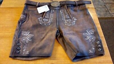 Mens Traditional Short Lederhosen Oktoberfest By Leather Spot Size EU 56 NEW
