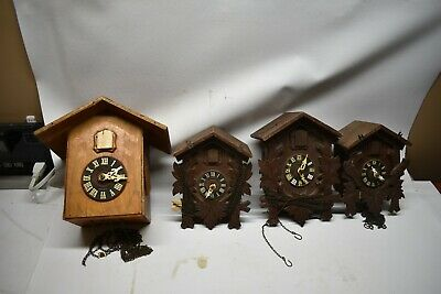 Nice Vintage Lot Of 4 German Cuckoo Clocks Coehler Heco *Parts Repair Wood Mixed