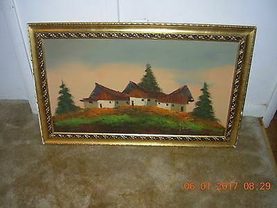 """Old Vintage large oil painting on board, Signed """"POMI""""-EUROPEAN MASTER Beautiful"""