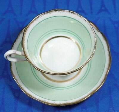 Royal Albert 1920's  Avon Shape Tea Cup and Saucer SET Green w green gold lines