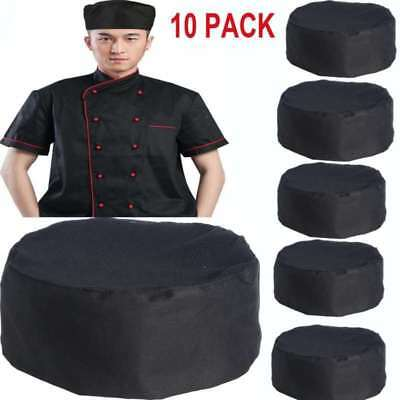 10 Pack Black Top Mesh Chefs Hat Caps Catering Cook Food Kitchen Round Cap Hats