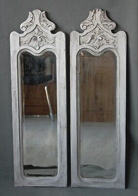 pair of antique carved bevelled wall mirrors painted shabby chic narrow